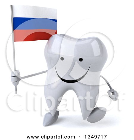 Clipart of a 3d Happy Tooth Character Walking and Holding a Russian Flag - Royalty Free Illustration by Julos