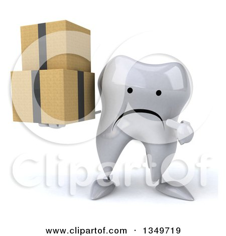 Clipart of a 3d Unhappy Tooth Character Holding and Pointing to Boxes - Royalty Free Illustration by Julos