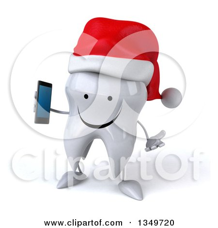 Clipart of a 3d Happy Christmas Tooth Character Wearing a Santa Hat, Shrugging and Holding a Smart Phone - Royalty Free Illustration by Julos