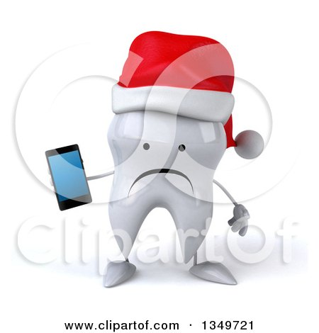 Clipart of a 3d Unhappy Christmas Tooth Character Wearing a Santa Hat and Holding a Smart Phone - Royalty Free Illustration by Julos
