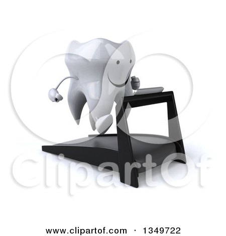 Clipart of a 3d Happy Tooth Character Running on a Treadmill - Royalty Free Illustration by Julos