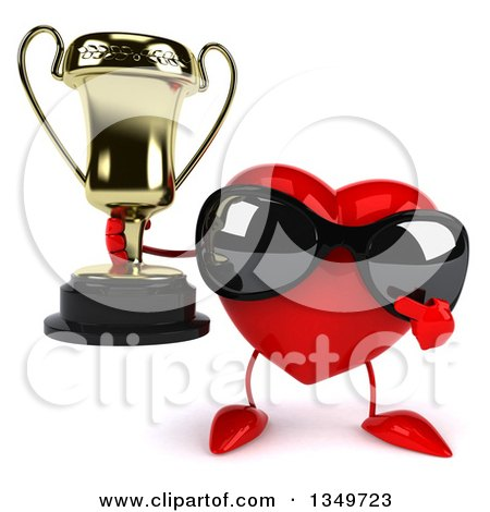 Clipart of a 3d Heart Character Wearing Sunglasses, Holding and Pointing to a Trophy - Royalty Free Illustration by Julos