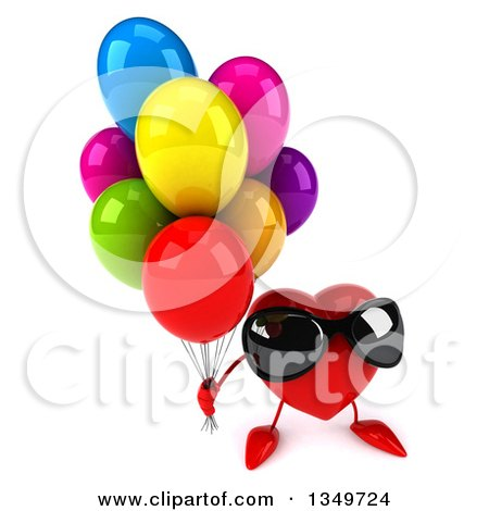 Clipart of a 3d Heart Character Wearing Sunglasses and Holding up Party Balloons - Royalty Free Illustration by Julos