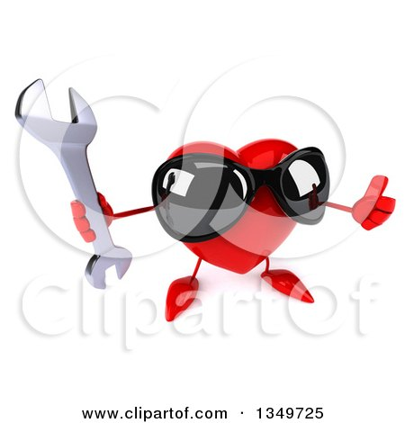Clipart of a 3d Heart Character Wearing Sunglasses and Holding up a Thumb and Wrench - Royalty Free Illustration by Julos