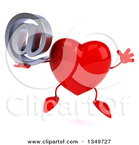 Clipart of a 3d Heart Character Holding an Email Arobase at Symbol and Jumping - Royalty Free Illustration by Julos