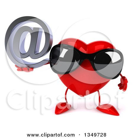 Clipart of a 3d Heart Character Wearing Sunglasses and Holding an Email Arobase at Symbol - Royalty Free Illustration by Julos
