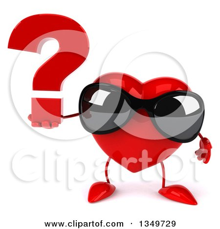 Clipart of a 3d Heart Character Wearing Sunglasses and Holding a Question Mark - Royalty Free Illustration by Julos