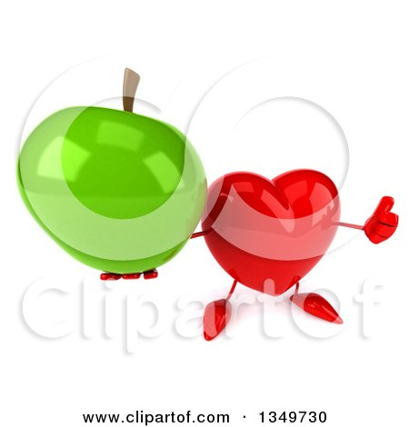Clipart of a 3d Heart Character Holding up a Thumb and Green Apple - Royalty Free Illustration by Julos