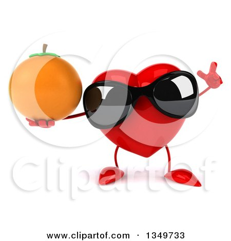Clipart of a 3d Heart Character Wearing Sunglasses, Holding up a Finger and a Navel Orange - Royalty Free Illustration by Julos