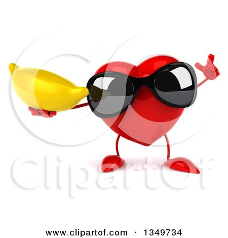 Clipart of a 3d Heart Character Wearing Sunglasses, Holding up a Finger and a Banana - Royalty Free Illustration by Julos