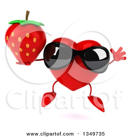 Clipart of a 3d Heart Character Wearing Sunglasses, Jumping and Holding a Strawberry - Royalty Free Illustration by Julos