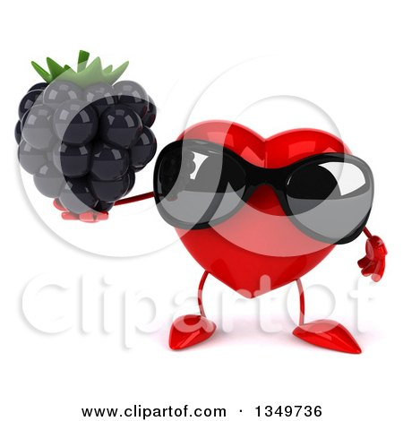 Clipart of a 3d Heart Character Wearing Sunglasses and Holding a Blackberry - Royalty Free Illustration by Julos