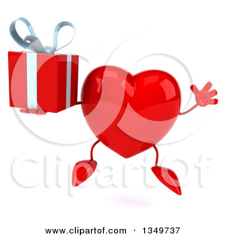 Clipart of a 3d Heart Character Holding a Gift and Jumping - Royalty Free Illustration by Julos