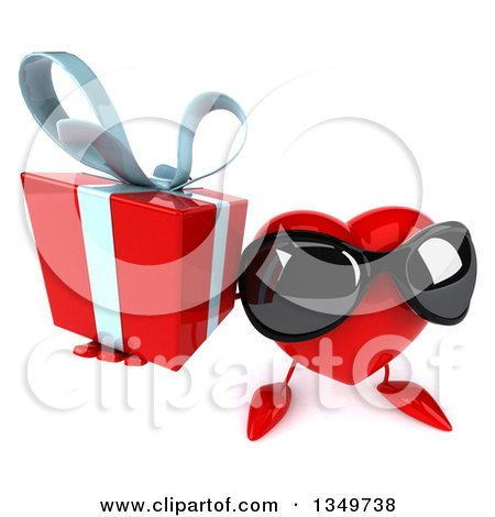 Clipart of a 3d Heart Character Wearing Sunglasses and Holding up a Gift - Royalty Free Illustration by Julos
