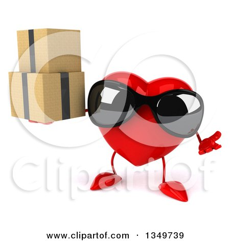Clipart of a 3d Heart Character Wearing Sunglasses, Shrugging and Holding Boxes - Royalty Free Illustration by Julos