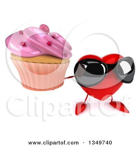 Clipart of a 3d Heart Character Wearing Sunglasses and Holding up a Cupcake - Royalty Free Illustration by Julos