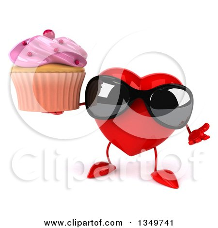 Clipart of a 3d Heart Character Wearing Sunglasses, Shrugging and Holding a Cupcake - Royalty Free Illustration by Julos