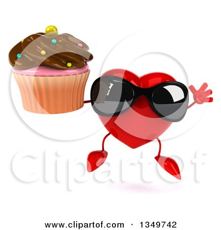 Clipart of a 3d Heart Character Wearing Sunglasses, Jumping and Holding a Cupcake - Royalty Free Illustration by Julos