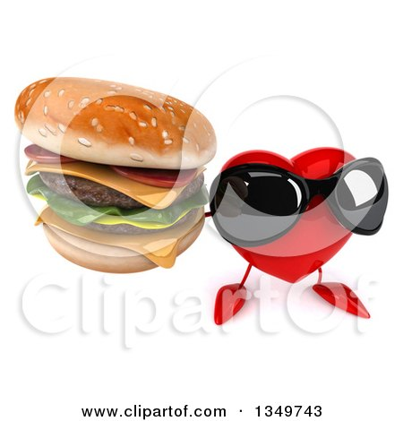 Clipart of a 3d Heart Character Wearing Sunglasses and Holding up a Double Cheeseburger - Royalty Free Illustration by Julos