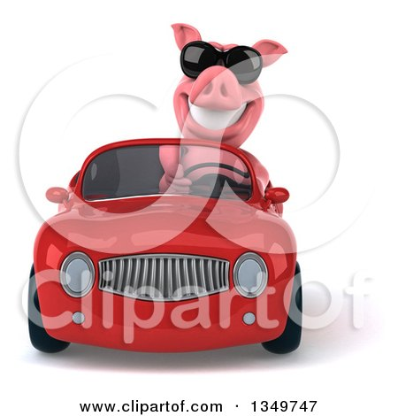 Clipart of a 3d Pig Wearing Sunglasses and Driving a Red Convertible Car - Royalty Free Illustration by Julos