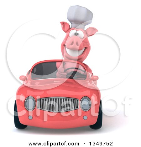 Clipart of a 3d Pig Chef Driving a Pink Convertible Car - Royalty Free Illustration by Julos