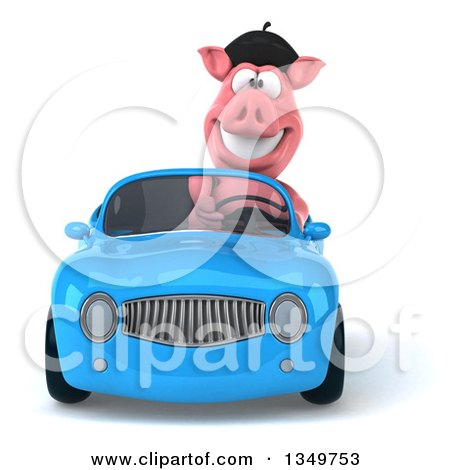 Clipart of a 3d French Pig Driving a Blue Convertible Car - Royalty Free Illustration by Julos
