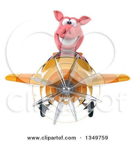 Clipart of a 3d Pig Aviator Pilot Flying a Yellow and Orange Airplane - Royalty Free Illustration by Julos