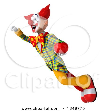 Clipart of a 3d Funky Clown Holding a Tomato and Flying - Royalty Free Illustration by Julos