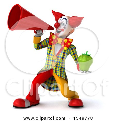 Clipart of a 3d Funky Clown Holding a Green Bell Pepper and Using a Megaphone - Royalty Free Illustration by Julos