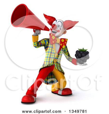 Clipart of a 3d Funky Clown Holding a Blackberry and Using a Megaphone - Royalty Free Illustration by Julos