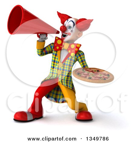 Clipart of a 3d Funky Clown Holding a Pizza and Using a Megaphone - Royalty Free Illustration by Julos