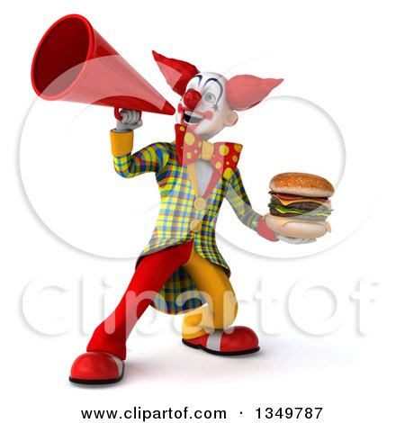 Clipart of a 3d Funky Clown Holding a Double Cheeseburger and Using a Megaphone - Royalty Free Illustration by Julos