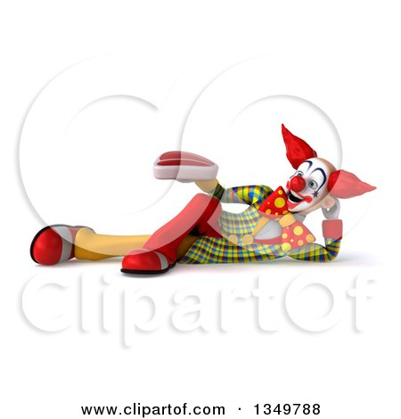 Clipart of a 3d Funky Clown Holding a Beef Steak and Resting on His Side - Royalty Free Illustration by Julos