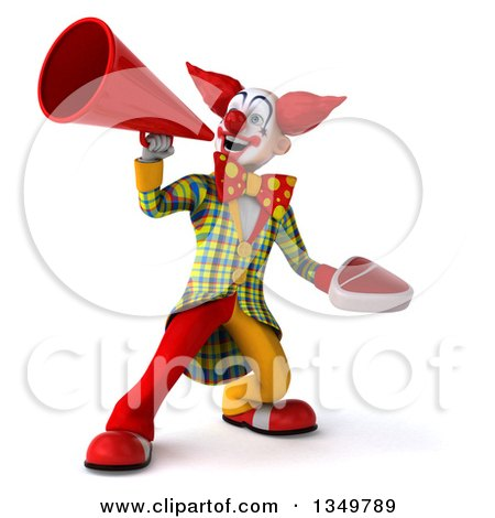Clipart of a 3d Funky Clown Holding a Beef Steak and Using a Megaphone - Royalty Free Illustration by Julos