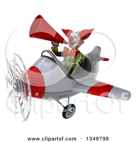 Clipart of a 3d Funky Clown Aviator Pilot Using a Megaphone and Flying a White and Red Airplane to the Left - Royalty Free Illustration by Julos