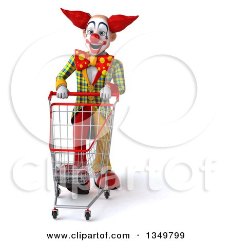Clipart of a 3d Funky Clown Walking with a Shopping Cart - Royalty Free Illustration by Julos