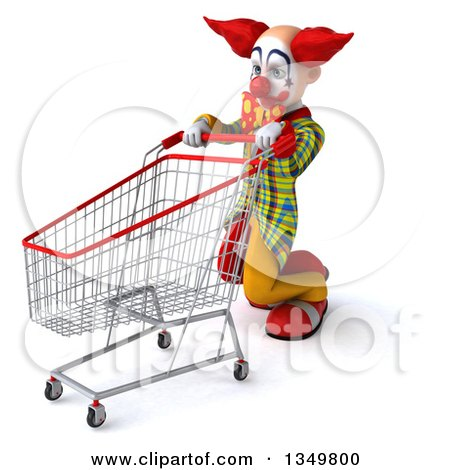 Clipart of a 3d Funky Clown Collapsing with a Shopping Cart - Royalty Free Illustration by Julos