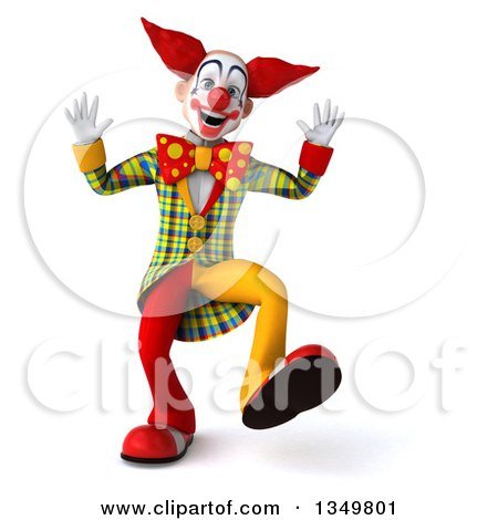 Clipart of a 3d Funky Clown Dancing - Royalty Free Illustration by Julos