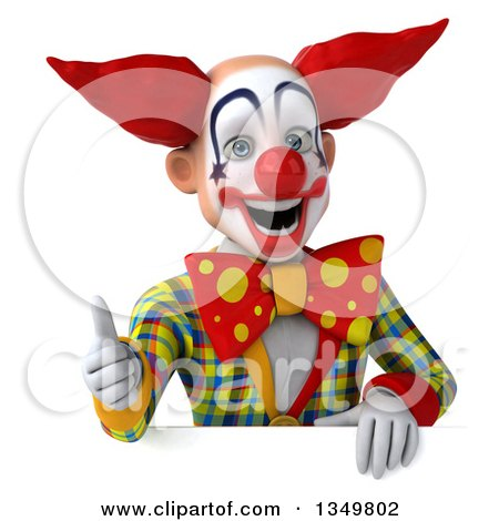 Clipart of a 3d Funky Clown Giving a Thumb up over a Sign - Royalty Free Illustration by Julos