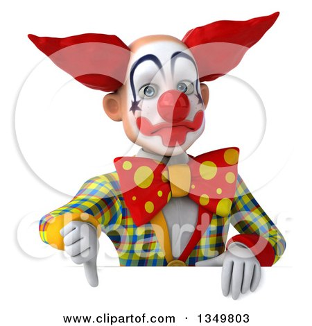Clipart of a 3d Funky Clown Giving a Thumb down over a Sign - Royalty Free Illustration by Julos