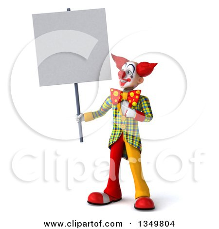 Clipart of a 3d Funky Clown Holding and Pointing to a Blank Sign - Royalty Free Illustration by Julos