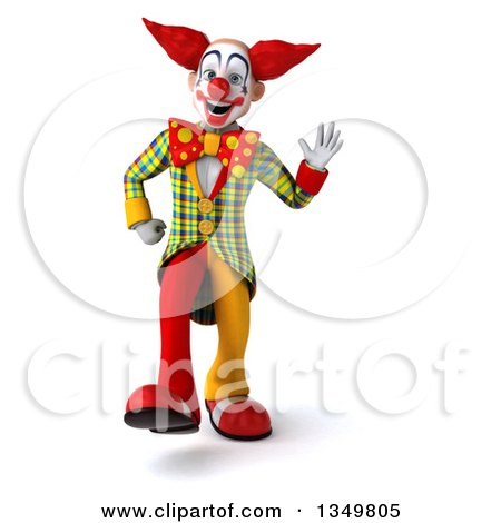 Clipart of a 3d Funky Clown Walking and Waving - Royalty Free Illustration by Julos