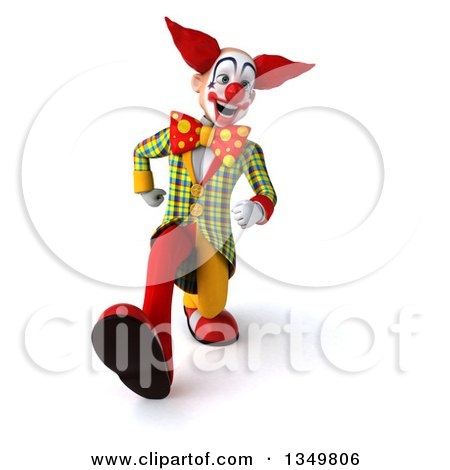 Clipart of a 3d Funky Clown Speed Walking - Royalty Free Illustration by Julos