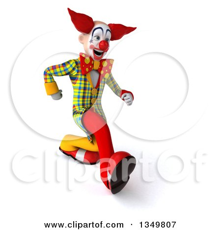 Clipart of a 3d Funky Clown Speed Walking to the Right - Royalty Free Illustration by Julos