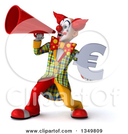Clipart of a 3d Funky Clown Holding a Euro Currency Symbol and Using a Megaphone - Royalty Free Illustration by Julos