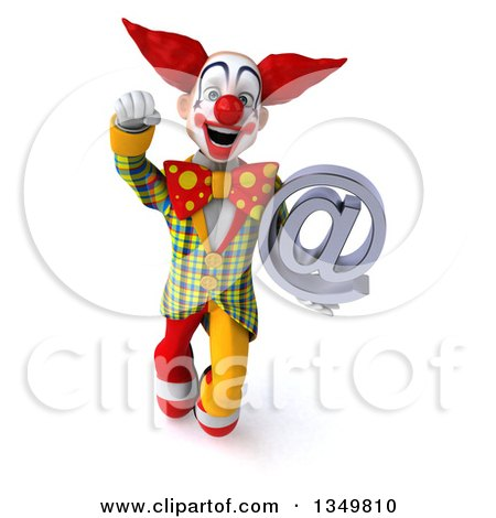 Clipart of a 3d Funky Clown Holding an Email Arobase at Symbol and Flying - Royalty Free Illustration by Julos