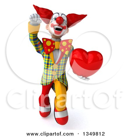 Clipart of a 3d Funky Clown Holding a Heart and Flying - Royalty Free Illustration by Julos