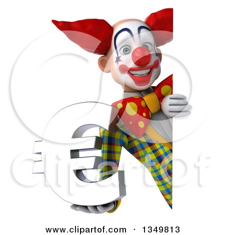 Clipart of a 3d Funky Clown Holding a Euro Currency Symbol Around a Sign - Royalty Free Illustration by Julos