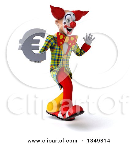 Clipart of a 3d Funky Clown Holding a Euro Currency Symbol, Waving and Walking to the Right - Royalty Free Illustration by Julos