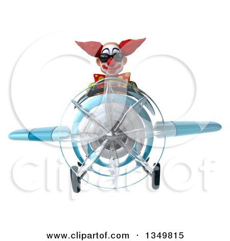Clipart of a 3d Funky Clown Aviator Pilot Wearing Sunglasses and Flying a Blue Airplane - Royalty Free Illustration by Julos